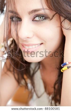 beautiful women with make-up an manicure - stock photo