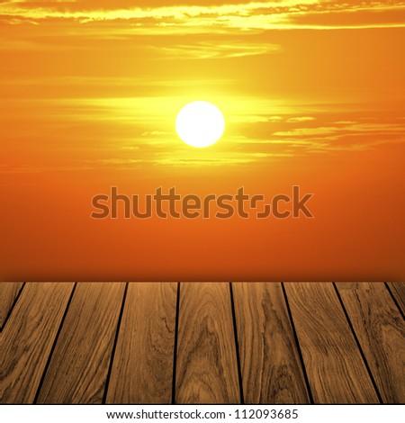 Beautiful wooden balcony when orange sunset - stock photo