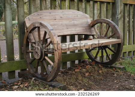 Beautiful wooden bench with wheels,  - stock photo