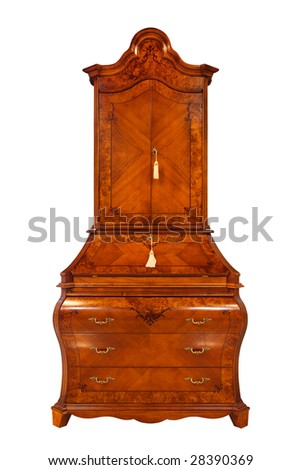 beautiful wooden bureau on a white background - stock photo