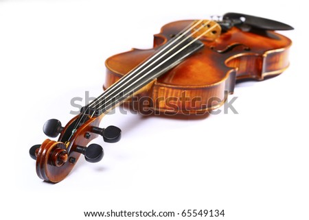 beautiful wooden cello isolated on white background - stock photo