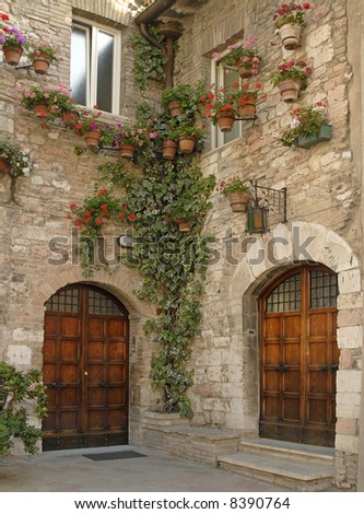 beautiful wooden doors, cobblestone walls with potted plants and ivy - stock photo