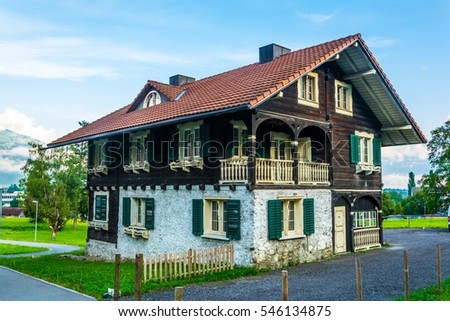 Beautiful wooden house built according to style of the traditional architecture near schaan, Liechtenstein