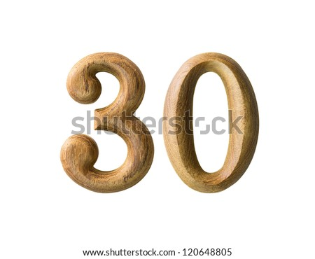 Beautiful wooden numeric with shadow on white background - stock photo