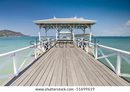 Beautiful wooden pier in Ko Si Chang island, Thailand