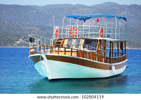 Beautiful wooden ship in Aegean sea, Turkey - stock photo