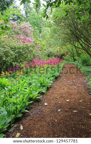 Beautiful woodland garden path in springtime. Also available in horizontal. - stock photo