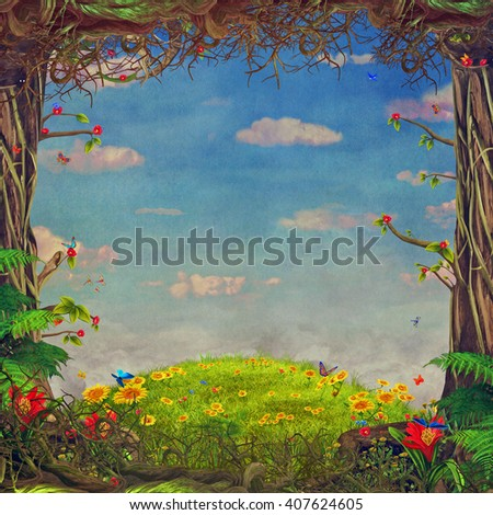 Beautiful woodland scene with trees , grass, butterflies , flowers  and clouds , illustration art  - stock photo