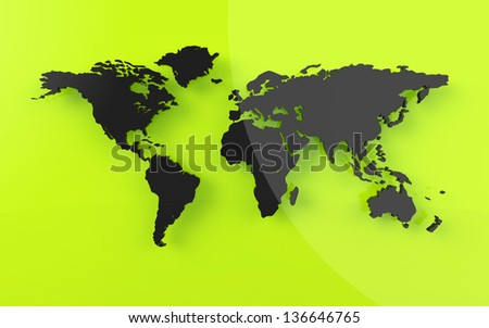 Beautiful world map on green background