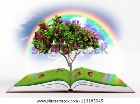 Beautiful world, which gives us a reading of books - stock photo