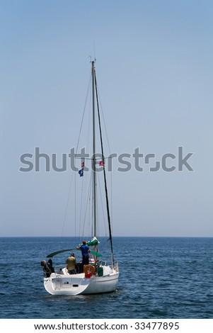 beautiful yacht in the sea - stock photo