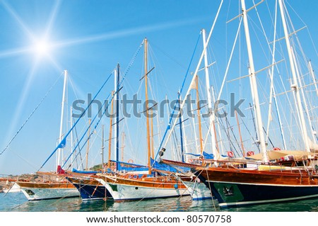 Beautiful yachts at coast Aegean sea. - stock photo