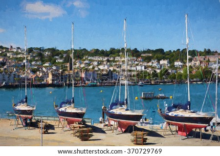 beautiful yachts Dartmouth Devon England UK with blue sky and clouds in Devon England UK illustration like oil painting