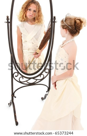 Beautiful 7 year old girl actor playing peasant and princess over white. - stock photo