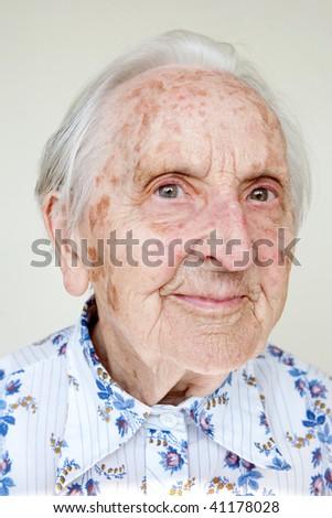 beautiful 95 years old woman - stock photo