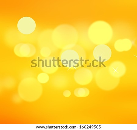 Beautiful yellow background with blurred lights - stock photo