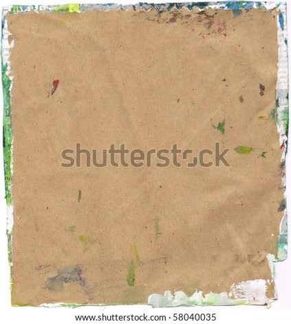 Beautiful yellow, green and white paint splatters on classic brown paper- Great for textures and backgrounds for your projects! - stock photo