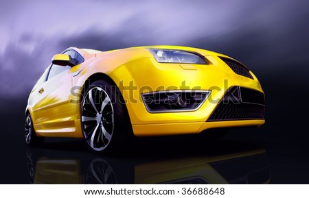 Beautiful yellow sport car - stock photo