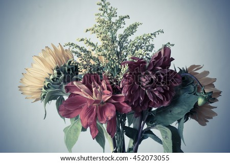 Beautiful yellow sunflowers and red dahlia flowers in a vase on a white background. Summer flowers in the sunshine - stock photo