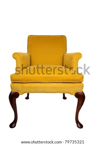 Beautiful yellow vintage chair - stock photo