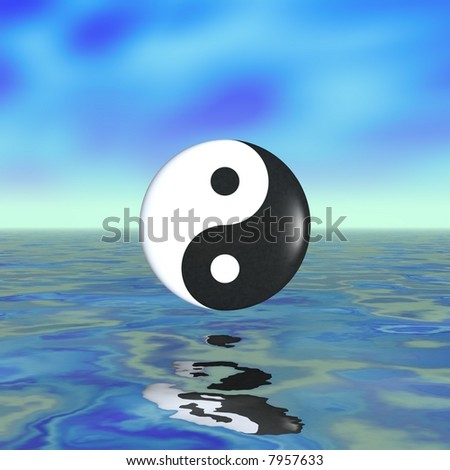 Beautiful ying yang concept with plenty of cropping room - stock photo