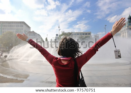 beautiful youn woman tourist  in france at vacation and travel trip - stock photo