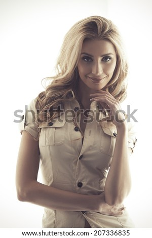 Beautiful young adult woman with clean fresh skin  - stock photo