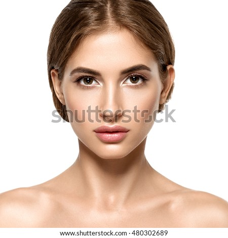 Beautiful Young  Adult Woman with Clean Fresh Skin Portrait. Facial treatment . Cosmetology , beauty and spa female model
