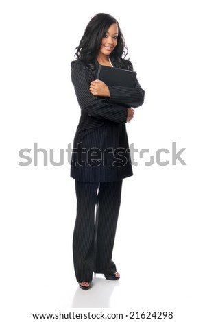 Beautiful young african american businesswoman with folder isolated on white