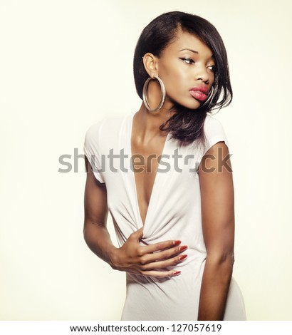 Beautiful young African American model - stock photo