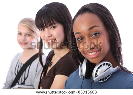Beautiful young African American student girl with two other multi ethnic teenage friends, an oriental Japanese and blonde caucasian girl, all with happy smiles.