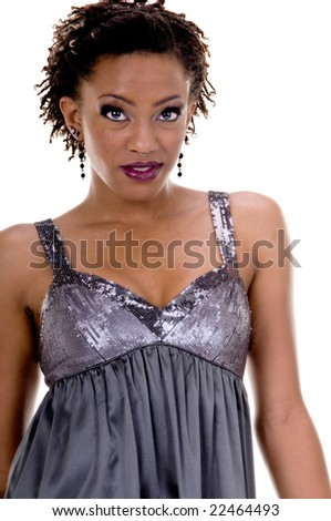 Beautiful young african american woman in club wear