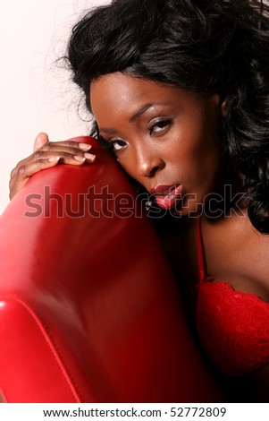 Beautiful young african american woman with clean makeup - stock photo
