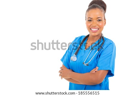 beautiful young african doctor with arms crossed isolated on white - stock photo