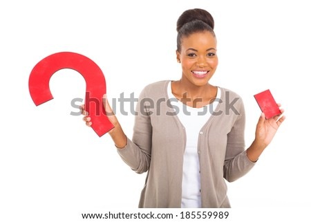 beautiful young african woman holding question mark against white background - stock photo
