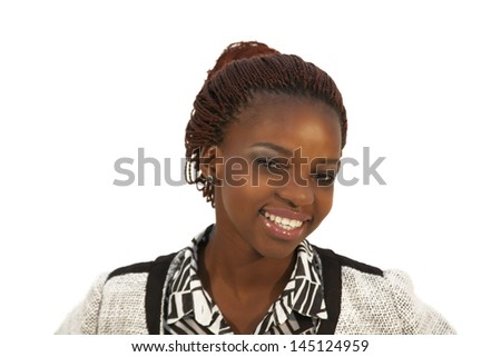 beautiful young African woman portrait against white - stock photo