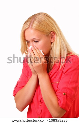 Beautiful young allergic woman - stock photo