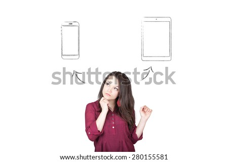 Beautiful young and pretty woman taking a decision (choose) between tablet and smartphone - isolated on white background - stock photo