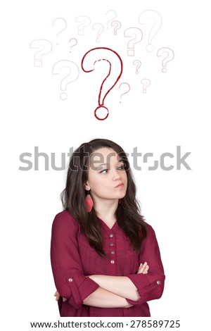 Beautiful young and pretty woman thinking (have no idea) in front of question marks concept - isolated on white background - stock photo