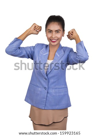 Beautiful young asian business woman. are very happy, on white background.