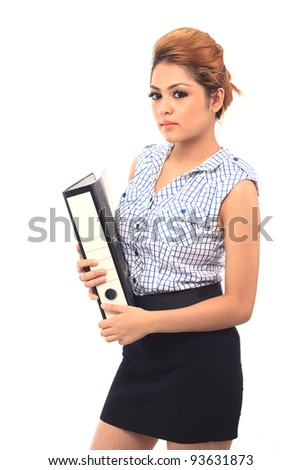 Beautiful young asian business woman holding a file isolated white background - stock photo