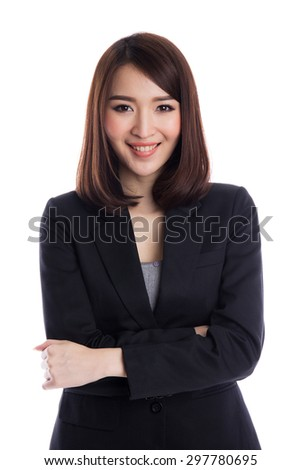 Beautiful young asian business woman on white background - stock photo
