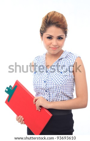 Beautiful young asian business woman smile isolated white background - stock photo