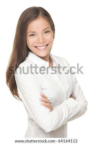 Beautiful young asian businesswoman portrait posing on isolated white background. - stock photo