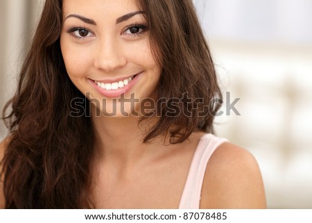 Beautiful young asian caucasian woman portrait - stock photo