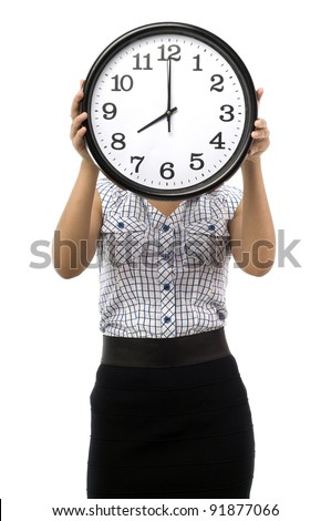 Beautiful young asian woman hold a clock cover her face show time at eight o clock isolated white background - stock photo