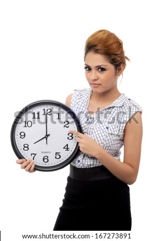 Beautiful young asian woman hold a clock show time at eight o clock isolated on white background - stock photo