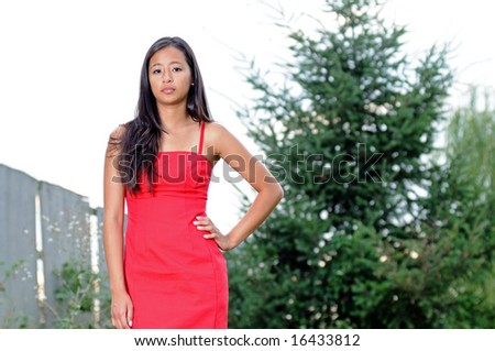 Beautiful young Asian woman in red dress - stock photo