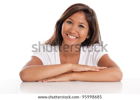 Beautiful young Asian woman portrait isolated on a white background - stock photo