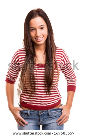 Beautiful young asian woman posing isolated over white background